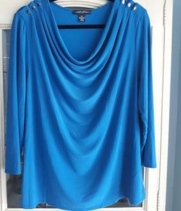 Women's XL Blouse, 3/4 sleeves, draped fit